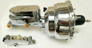 """7"""" Dual Chrome Power Booster with Flat Top Master Cylinder Disc Disc Prop Valve"""