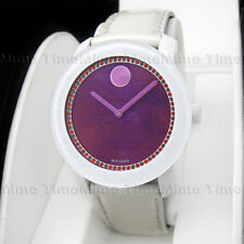 Women's Movado BOLD Red Watercolor Dial Crystal Leather Swiss Watch 3600269