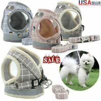 US 3.94feet Soft Mesh Small Dog Harness Step-in Puppy Harness Leash Vest Set Pet