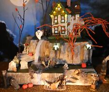 Haunted 2 WATERFALLS, Halloween Village 2 pc DISPLAY platform base Dept 56 Lemax