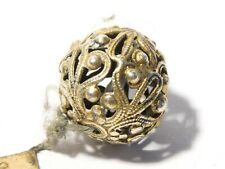 More details for antique fine silver pierced design ball spherical 18mm bead button pin finial
