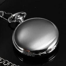 Hand Made Silver Skeleton Windup Mechanical Pocket Watch Chain Steampunk Retro