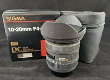 Sigma 10-20mm f/4.0-5.6 DC Lens For Nikon Exc, Filter, Case, Box, Shade, Caps