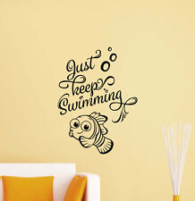 Just Keep Swimming Nemo Dory Wall Decal Vinyl Sticker Poster Decor Art Mural 402