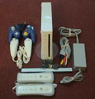 Nintendo Wii Gaming Console Sensor & Cords Gamecube Compatible White RVL-001 USA