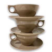 Vintage Brown Melmac Cups & Saucers Melamine Boonton 8205 Retro Coffee Three Set