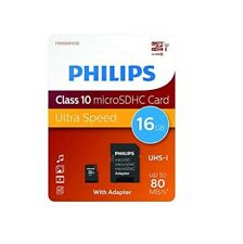 Phillips Class 10 Micro SDHC 16GB Memory Card with Adapter - Ultra Speed SD
