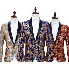 Mens Floral Sequin Shawl Lapel Suit Jacket Velvet Blazer Wedding Prom Coat Retro