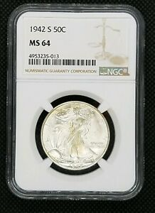1942-S Walking Liberty Half Dollar | NGC MS 64 | Blast White!
