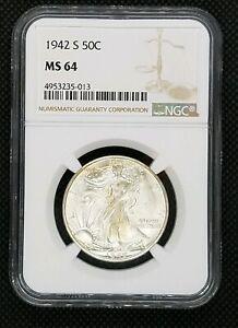 1942-S Walking Liberty Half Dollar | NGC MS 64 | Blast White!