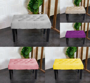Velvet Dressing Bench Stool Chair Vanity Stool With Rustic Look Legs