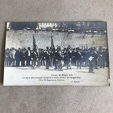 T) Postcard Military Format Small Perugia 1909 Brigade Alps to