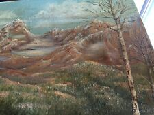 vintage 18x24 oil on canvas,signed by Dalton,colorful mountain scenery