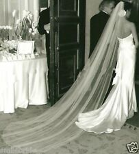 White or Ivory Cut Edge Chapel /Cathedral Long 1 Layer Wedding Bridal Veil