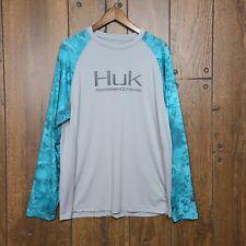 HUK Performance Fishing Shirt Size Medium Long Sleeve Turquoise Gray Camo Sleeve