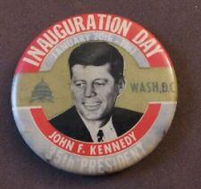Vintage JOHN F KENNEDY INAUGURATION DAY Portrait Button Pin Pinback JFK