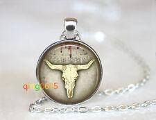 Wild West Cowboy Bull Head Skull Tibet silver Chain Pendant Necklace wholesale