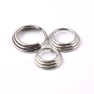 SURGICAL STEEL HINGED Micro BANDED Graduated SEGMENT RING Tragus Rook Daith Ear