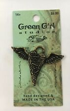 Green Girl Studios Flying Heart Pendant Oxidized Brass