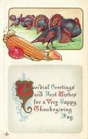 1900's VINTAGE EMBOSSED THANKSGIVING GREETINGS TURKEYS & CORN & FRUIT  POSTCARD