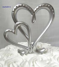 ~*Silver Double Interlocking Love Hearts Wedding or Engagement Cake Topper*~