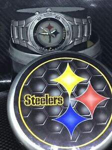 Pittsburgh Steelers NFL Women's Stainless Steel Fossil Kaleido Watch NEW (RARE)