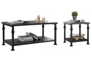 2-Tier Wooden Coffee Table Retro Industrial Living Room Shelf Set Black