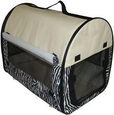 Zebra Dog Pet Kennel House Carrier Soft Crate w/ Carry Case 6001