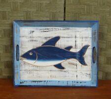 vassoio con pesce in legno cm 40 x 30  x H 4,5 etnico stile marino