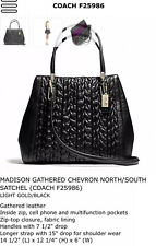 Coach Madison Gathered Chevron North South Leather Bag #25986 NWT! Black/Gold