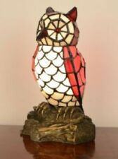 Tiffany Style Table Lamp Owl Handcrafted Fugurine Light Glass Stained Bedside