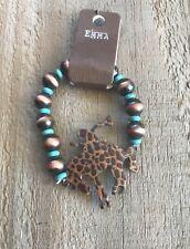 Western Leopard Print Turquoise Color Cowboy Horse Stretch Beaded Bracelet