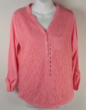 Nine West Henley Top Lace Front Pink 3/4 Sleeve w/ Pocket NWT New