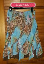 Alberto Makali Turquoise brown lace ruffle animal giraffe print floral sz 12