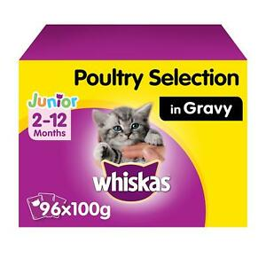 96 x 100g Whiskas 2-12 Months Kitten Wet Cat Food Pouches Mixed Poultry in Gravy