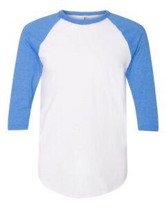 American Apparel 50/50 Raglan 3/4 Slv T-Shirt XL White Hthr Lake Blue BB453W NEW
