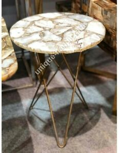 Round White Agate Stone Corner Side Small Table Coffee/ Dinning/Sofa/Center Deco