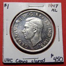 1947 ML Maple Leaf Canada Silver One Dollar Coin BI384 - $450 UNC Cameo cld