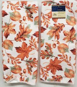 """2 SAME PRINTED MICROFIBER TOWELS (15"""" x 25"""") FALL, FALLING LEAVES & ACORNS, GR"""