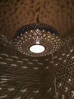 Moroccan round pendent brass hanging lamp Ceiling light chandelier handmade Fez