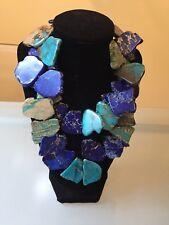 Statement Sterling Silver Slab Necklace Nwot Blue Turquoise Jasper Natural Stone
