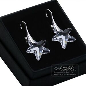 STARFISH 16MM CRYSTALS FROM SWAROVSKI® 925 STERLING SILVER EARRINGS CLEAR