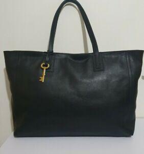 Fossil extra large black leather shoulder shopper tote bag