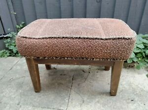 Vintage retro mid century wooden upholstered stool footstool upcycle project