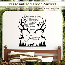 Personalized Name & Deer Antlers Hunting Wall Vinyl Decor Art Sticker Decal 50