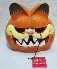 Vintage Enesco Garfield Ceramic Jack O Lantern Tealight Candle Holder Good shape