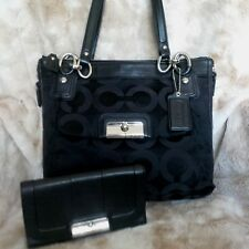 STUNNING COACH KRISTIN SET ~ Black Op Art NS Hobo & Leather Trifold Wallet