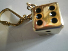 Dice Key Ring 18 Karat Gold Plated Keychain Quest Ind Auto Accessories New Rare