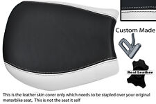 WHITE & BLACK CUSTOM FITS TRIUMPH SPEED TRIPLE 955 i 97-01 FRONT LTHR SEAT COVER