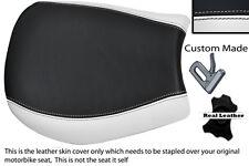WHITE & BLACK CUSTOM FITS TRIUMPH SPEED TRIPLE 955 i 97-01 FRONT LTHR SEAT COVER